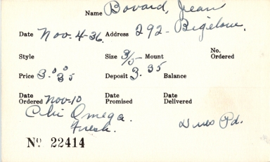 Index card for Jean Bovard