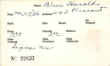 Index card for Harold Blue