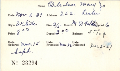Index card for Mary Jo Bledsoe