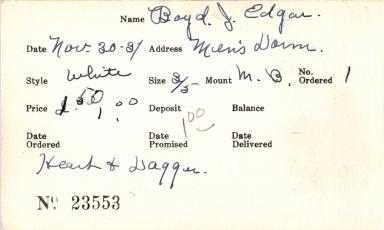 Index card for J. Edgar Boyd