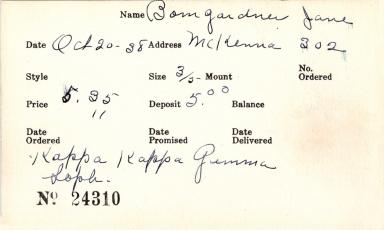 Index card for Jane Bomgardner