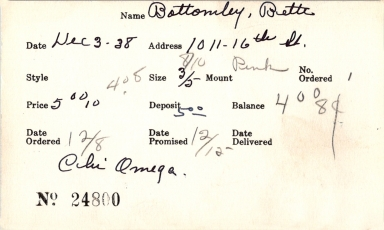 Index card for Bette Bottomley