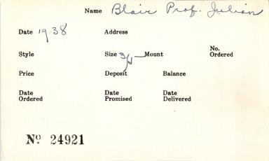 Index card for Julian Blair