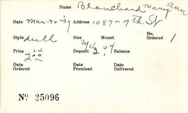 Index card for Mary Ann Blanchard