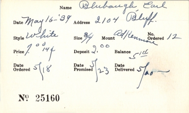 Index card for Earl Blubaugh
