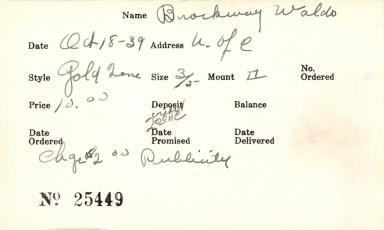 Index card for Waldo Brockway