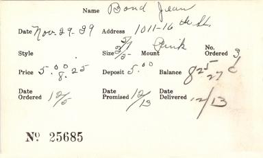 Index card for Jean Bond