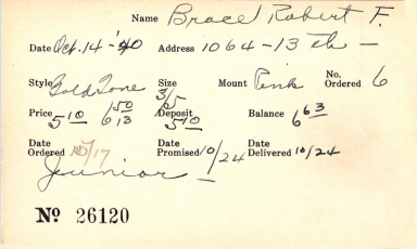 Index card for Robert F. Brace