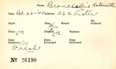 Index card for Antoinette Bronciacio