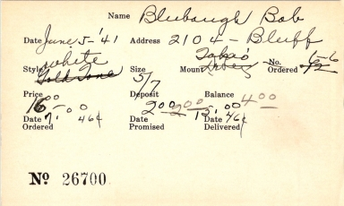 Index card for Bob Blubaugh