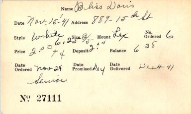 Index card for Doris Bliss