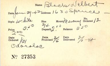 Index card for Delbert Black