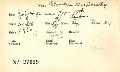 Index card for Dorothy Bowlin