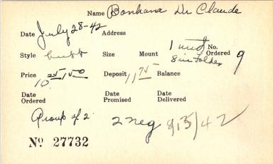 Index card for Claude Bonham