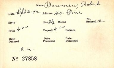 Index card for Robert Bowmen