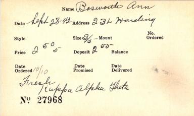 Index card for Ann Bosworth