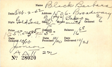 Index card for Barbara Black