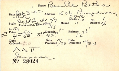 Index card for Betha Boulls