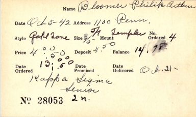 Index card for Philip Arthur Bloomer