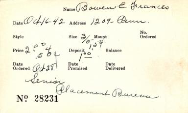 Index card for E. Frances Bowen