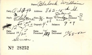Index card for William Blalock