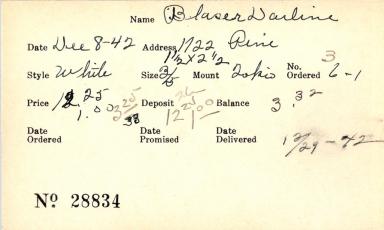 Index card for Darline Blaser