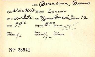Index card for Bruno Bonacina