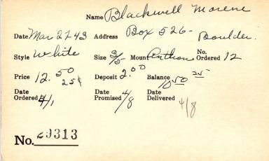 Index card for Morene Blackwell