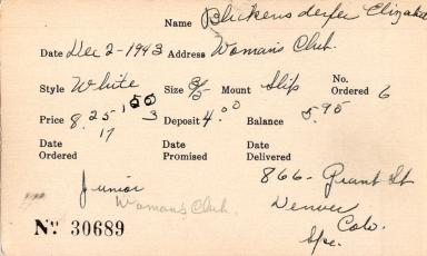 Index card for Elizabeth Blickensderfer
