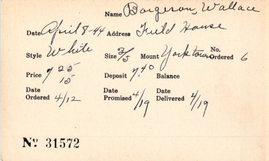 Index card for Wallace Borgeson