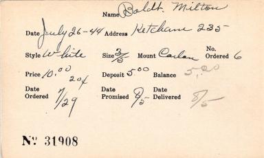 Index card for Milton Boldt