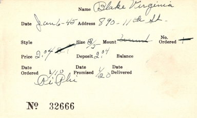 Index card for Virginia Blake