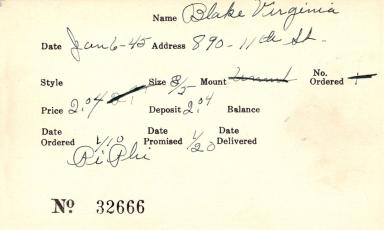 Index card for Virginia Blake