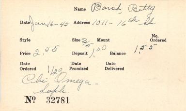 Index card for Betty Borst