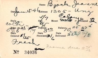 Index card for Jeanne Bjork
