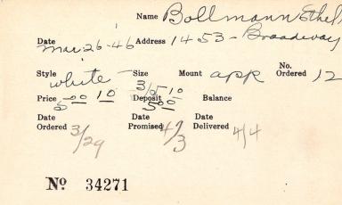 Index card for Ethel Bollmann