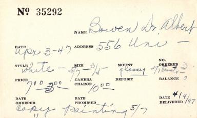 Index card for Albert Bowen