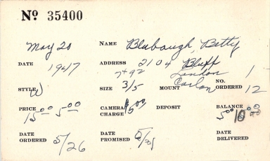 Index card for Betty Blubaugh