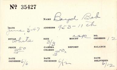 Index card for Bob Boyd