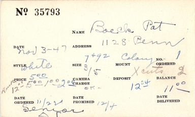 Index card for Pat Boeck