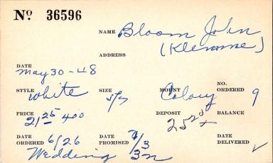 Index card for John Bloom