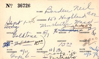 Index card for Neil Borden