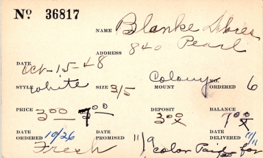 Index card for Delores Blanke