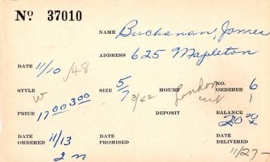 Index card for James Buchanan