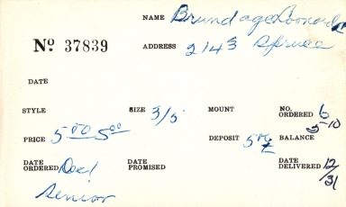Index card for Donald C. Brundage