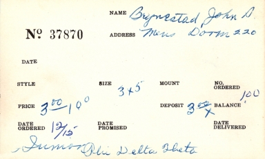 Index card for John S. Brynestad