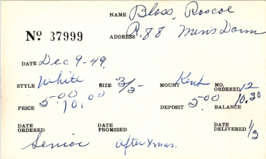 Index card for Roscoe Bloss