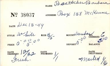 Index card for Barbara Boettcher