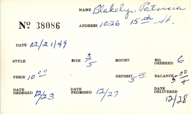 Index card for Patricia Blakely