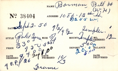 Index card for Bill H. (W. H.) Borman